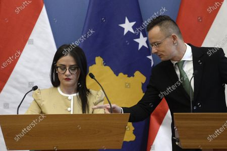 Stock Image of Hungarian Minister of Foreign Affairs and Trade Peter Szijjarto (R) gestures to Kosovar Minister of Foreign Affairs and Diaspora Meliza Haradinaj-Stublla (L) during their joint press conference following their talks in the Szijjarto's office in Budapest, Hungary, 29 October 2020.
