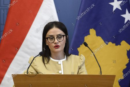 Kosovar Minister of Foreign Affairs and Diaspora Meliza Haradinaj-Stublla (L) speaks during a press conference with Hungarian Minister of Foreign Affairs and Trade Peter Szijjarto following their talks in the latter's office in Budapest, Hungary, 29 October 2020.