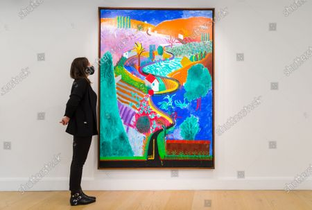 A member of staff poses with Nichols Canyon by artist David Hockney at Phillips auction house in Berkley Square, London, Britain, 29 October 2020. Nichols Canyon is David Hockney's first mature landscape and is expected to sell for $35m.