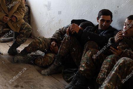 October 25, 2020 -Harutyunagomer, Nagorno-Karabakh. Armenian forces are resting while protecting this moutain village after going through heavy combat in the Hadrut area. This area is being shelled on a regular basis by Azeri forces. (photo by Jonathan Alpeyrie/Sipa Press)