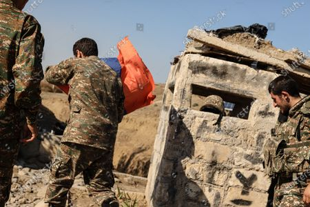 October 25, 2020 - Martakert front, Nagorno-Karabakh. Azeris forces have been trying to break Armenian defenses in the Mardakert area after numerous attempts. The Armenian forces in the area have held firm repulsing multiple attacks. (photo by Jonathan Alpeyrie/Sipa Press)