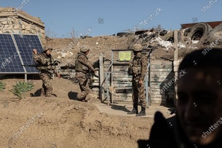 Stock Photo of October 25, 2020 - Martakert front, Nagorno-Karabakh. Azeris forces have been trying to break Armenian defenses in the Mardakert area after numerous attempts. The Armenian forces in the area have held firm repulsing multiple attacks. (photo by Jonathan Alpeyrie/Sipa Press)