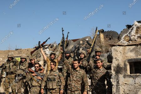 Stock Picture of October 25, 2020 - Martakert front, Nagorno-Karabakh. Azeris forces have been trying to break Armenian defenses in the Mardakert area after numerous attempts. The Armenian forces in the area have held firm repulsing multiple attacks. (photo by Jonathan Alpeyrie/Sipa Press)
