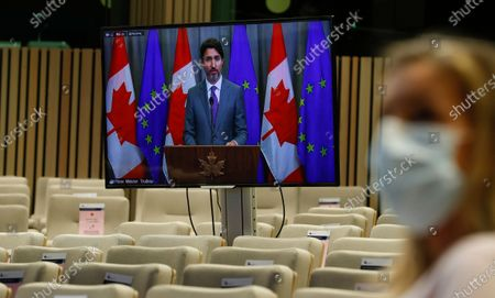 Prime Minister of Canada Justin Trudeau is seen on screen during a press conference following a virtual EU - Canada Summit in Brussels, Belgium, 29 October 2020.