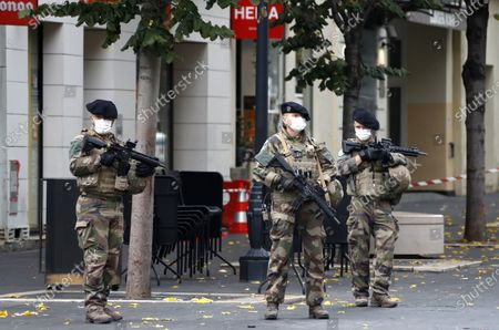 Special forces stand guard near the scene of a reported knife attack at Notre Dame church in Nice, France, October 29, 2020.