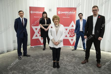 (L-R back) Jewish Labour National Movement Chair Mike Katz, National Vice Chairs Ruth Smeeth , Campaigns Officer of Jewish Labour Movement Adam Langleben and (front ) Margaret Hodge MP (L) , National Secretary Peter Mason (R) attend a press conference on the findings of the The Equality and Human Rights Commission into antisemitism in the Labour Party at the offices of Mischon de Raya in London, Britain, 29 October 2020. According to reports, Jeremy Corbyn has been suspended from the parliamentary Labour party due to pending investigation and comments about antisemitism in the Labour Party.