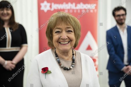 Dame Margaret Hodge, Parliamentary Chair of Jewish Labour Movement speaks at a press conference on the findings of the The Equality and Human Rights Commission into antisemitism in the Labour Party at the offices of Mischon de Raya in London, Britain, 29 October 2020. According to reports, Jeremy Corbyn has been suspended from the parliamentary Labour party due to pending investigation and comments about antisemitism in the Labour Party.