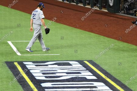 Dodgers pitcher Clayton Kershaw comes out of the game against the Rays in the 6th inning in Game 5 of the World Series at Globe Life Field in Arlington, Texas Sunday. (Wally Skalij/Los Angeles Times)