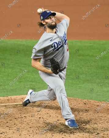 Dodgers pitcher Clayton Kershaw throws a pitch against the Rays in the 6th inning in Game 5 of the World Series at Globe Life Field in Arlington, Texas Sunday. (Wally Skalij/Los Angeles Times)