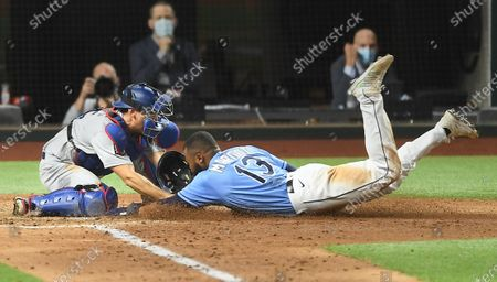 Dodgers catcher Austin Barnes tags out Rays Manuel Margot at home plate on a steal attempt in Game 5 of the World Series at Globe Life Field in Arlington, Texas Sunday. (Wally Skalij/Los Angeles Times)