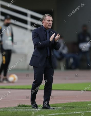 Leicester's manager Brendan Rodgers applauds his players during the Europa League group G soccer match between AEK Athens and Leicester at the Olympic stadium in Athens, . Leicester won 2-1