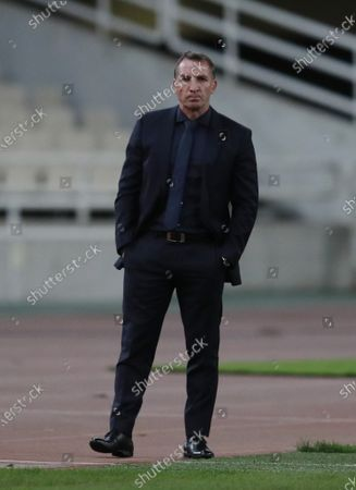 Leicester's manager Brendan Rodgers watches his players during the Europa League group G soccer match between AEK Athens and Leicester at the Olympic stadium in Athens