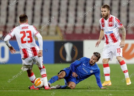 Red Star's Milan Rodic (L) in action against Slovan Liberec's Jakub Hromada (C) during the UEFA Europa League group L soccer match between Red Star and Slovan Liberec in Belgrade, Serbia, 29 October 2020.