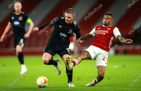 Arsenal vs Dundalk. Dundalk's Sean Murray with Reiss Nelson of Arsenal