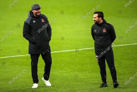 Arsenal vs Dundalk. Dundalk manager Filippo Giovagnoli with assistant coach Giuseppe Rossi