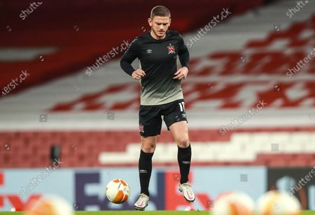 Arsenal vs Dundalk. Dundalk's Sean Murray during the warm-up