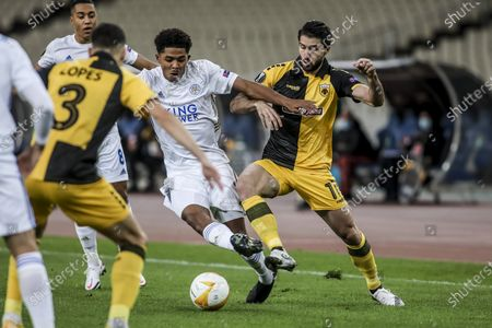 AEK's Karim Ansarifard (R) vies for the ball with Leicester's Wesley Fofana during the UEFA Europa League Group G soccer match AEK Athens vs Leicester at OAKA in Athens, Greece, 29 October 2020.