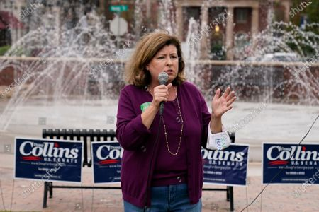 Republican candidate for Georgia's 6th district congressional district Karen Handel speaks during a rally, in Alpharetta, Ga