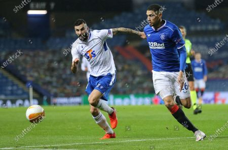 Stock Image of Leon Balogun (R) of Rangers in action against Mikael Ishak of Lech Poznan during the UEFA Europa League group D match between Glasgow Rangers and Lech Poznan in Glasgow, Britain, 29 October 2020.