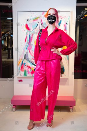 Victoria Clay arrives at a private preview of viral artist Sophie Tea's Send More Nudes exhibition at her Carnaby gallery, London.