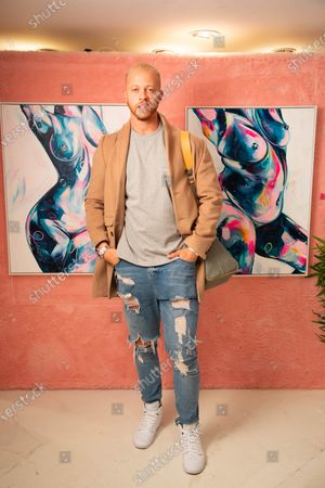 Chris Jammer arrives at a private preview of viral artist Sophie Tea's Send More Nudes exhibition at her Carnaby gallery, London.