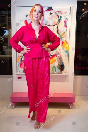 Stock Image of Victoria Clay arrives at a private preview of viral artist Sophie Tea's Send More Nudes exhibition at her Carnaby gallery, London.