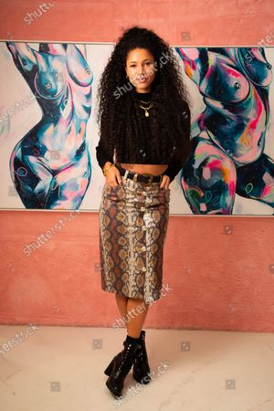 Stock Picture of Vick Hope arrives at a private preview of viral artist Sophie Tea's Send More Nudes exhibition at her Carnaby gallery, London.