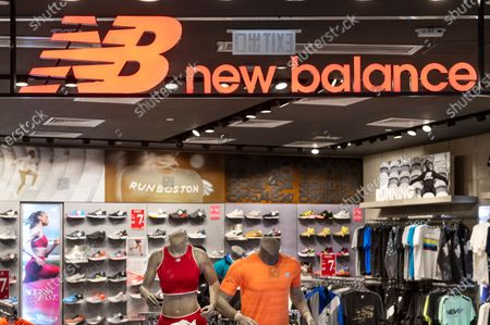 American footwear brand New Balance store and logo seen in Hong Kong.