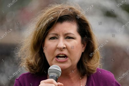 Republican candidate for Georgia's 6th district congressional seat Karen Handel speaks during a rally, in Alpharetta, Ga