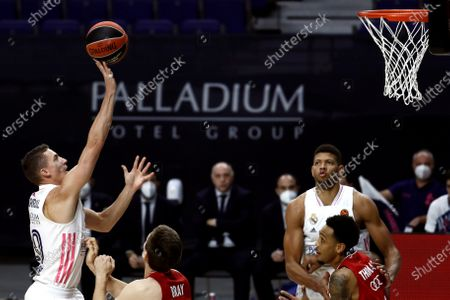 Real Madrid's guard Jaycee Carroll in action during the Euroleague basketball game between Real Madrid and FC Bayern Munich at Wizink Center in Madrid, Spain, 29 October 2020.