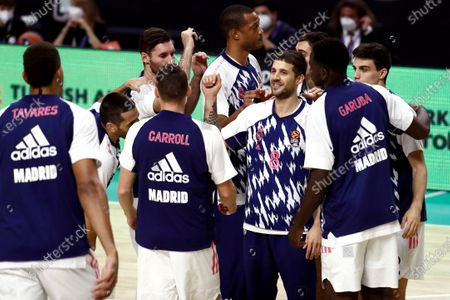 Real Madrid's guard Nicolas Laprovittola (C) reacts before the Euroleague basketball game between Real Madrid and FC Bayern Munich at Wizink Center in Madrid, Spain, 29 October 2020.