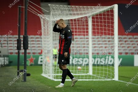 Nice's Kasper Dolberg reacts after missing a shoot on goal during the Europa League Group C soccer match between OGC Nice and Hapoel Beer-Sheva at the Allianz Riviera stadium in Nice, France
