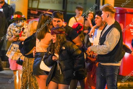 Revellers in Halloween costumes enjoy a night out in the city centre before new restrictions come into force in Nottingham. The county of Nottinghamshire will enter into Tier 3 ,from 00:01 am on Friday 30 October.