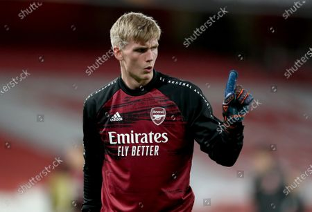 Stock Photo of Runar Runarsson of Arsenal in the warm up