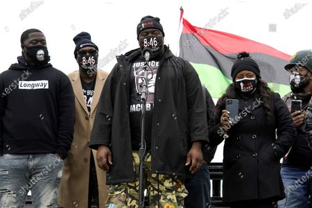 Stock Photo of George Floyd's brother Philonise Floyd, center, speaks during a Get Out The Vote rally in Chicago, . The families of Breonna Taylor, George Floyd, Alvin Cole and Jacob Blake encouraged residents to vote