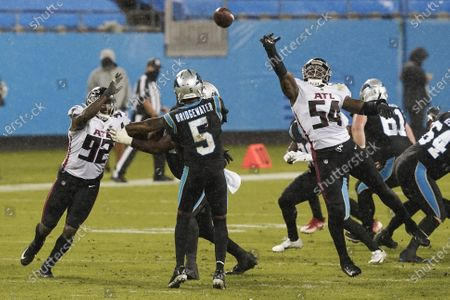 Carolina Panthers quarterback Teddy Bridgewater passes during the second of an NFL football game against the Atlanta Falcons, in Charlotte, N.C