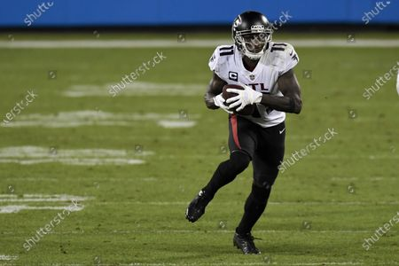 Atlanta Falcons wide receiver Julio Jones runs against the Carolina Panthers during the second half of an NFL football game, in Charlotte, N.C