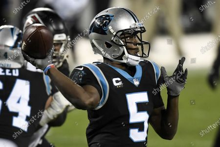 Carolina Panthers quarterback Teddy Bridgewater passes against the Atlanta Falcons during the second half of an NFL football game, in Charlotte, N.C