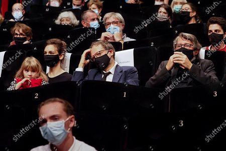 """Lesli Menu, Denis Podalydes and Bruno Podalydes attend the Best Short Film Palme D'Or Award Ceremony of the """"Special Cannes 2020 : Le Festival Revient Sur La Croisette !"""" as part of the Cannes Film Festival at Palais des Festivals"""