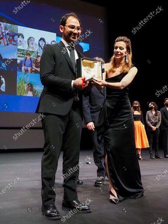 """Stock Photo of Short film Palme d'Or winner Sameh Alaa and jury member Celine Sallette attend the Best Short Film Palme D'Or Award Ceremony of the """"Special Cannes 2020 : Le Festival Revient Sur La Croisette !"""" as part of the Cannes Film Festival at Palais des Festivals"""