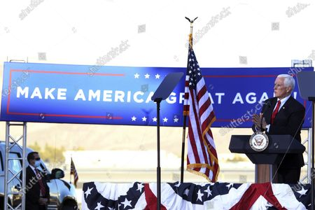 Stock Picture of Vice President Mike Pence speaks at a campaign rally at the Reno-Tahoe International Airport in Reno, Nev