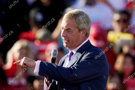 Nigel Farage, a former member of the European Parliament representing the UK and head of the Brexit Party, speaks during a campaign rally for President Donald Trump at Phoenix Goodyear Airport, in Goodyear, Ariz