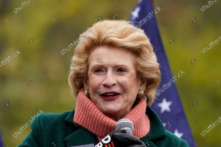 Stock Image of Sen. Debbie Stabenow, D-Mich., talks to guests before Jill Biden campaigns for her husband and former Vice President Joe Biden, Thursday, Oct. 29 in Westland, Mich