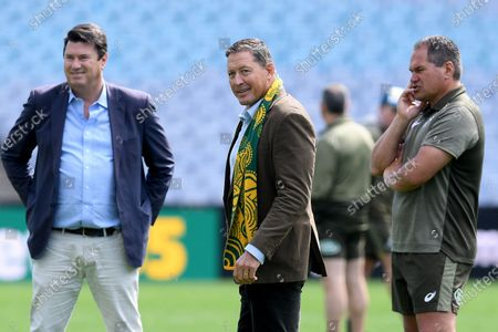 Rugby Australia Chairman Hamish McLennan (L), former Wallaby Phil Kearns (C) and coach Dave Rennie (R) speak during the Australian Wallabies captain's run training session at ANZ Stadium, in Sydney, Australia, 30 October 2020. The Australian Wallabies will take on the New Zealand All Blacks on 31 October.