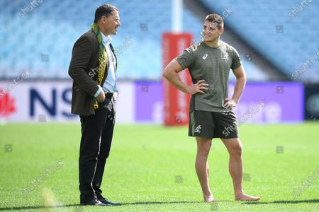 Former Wallaby Phil Kearns (L) and James O'Connor (R) speak during the Australian Wallabies captain's run training session at ANZ Stadium, in Sydney, Australia, 30 October 2020. The Australian Wallabies will take on the New Zealand All Blacks on 31 October.