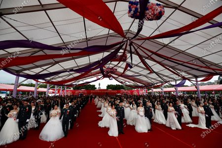 Editorial photo of Military mass wedding with two LGBT couples in Taiwan, Taoyuan - 30 Oct 2020