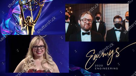 Stock snímek na téma Actress/Producer Kirsten Vangsness (left) presents the Emmy to Dan Raviv, Nir Averbuch, Yair Chuchem, Tal Aviram and Zvika Roitman from Sound Radix for Auto-Align Post during the 72nd Engineering Emmy Awards ceremony that streams at 5:00 PM PDT/8:00 PM EDT on Emmys.com