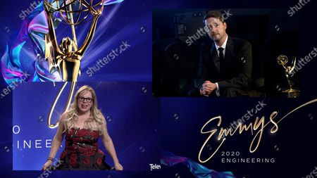 Actress/Producer Kirsten Vangsness (left) presents the Emmy to James Eggleton (right) from CODEX for CODEX RAW Workflow during the 72nd Engineering Emmy Awards ceremony that streams at 5:00 PM PDT/8:00 PM EDT on Emmys.com