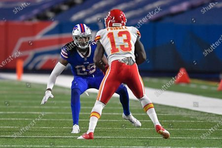 Stock Image of Buffalo Bills cornerback Josh Norman, left, defends against Kansas City Chiefs wide receiver Byron Pringle (13) during the second half of an NFL football game, in Orchard Park, N.Y