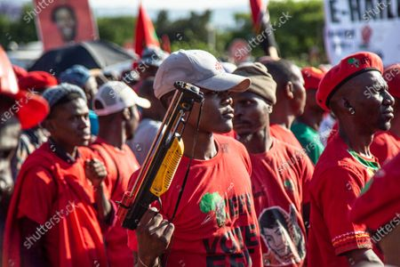 Stock Photo of Julius Malema Supporters gather outside Randburg Magistrate Court. Court postpones Julius Malema and the party's MP Mbuyiseni Ndlozi assault case to March 2021.